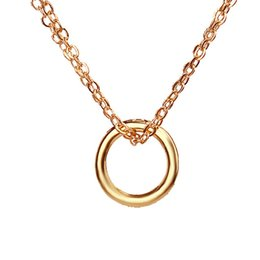 Wholesale Karma Circle - Hot Sale Karma 2 Linked Gold Plated Circle Eternity Pendant Necklace Clavicle Chains Fashion Statement Necklace Women Jewelry with card