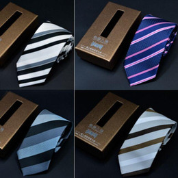 Wholesale Box 7cm High - 1200 Knitted Nano Waterproof NeckTies 145*7cm 19 Colors with Box packaging stripe NeckTie High quality Leisure Arrow Men's Necktie Free