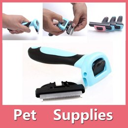 Wholesale Dog Brushes Combs - Pop Pet Shedding Tool Brush Dogs Cats Hair Short Large Grooming Brush Comb With 2 Colors Blue Pink