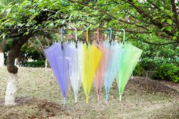 Wholesale Performance Tube - Long handle clear Umbrella adult kids children Dance Performance pencil Umbrella Beach Wedding Colorful transparent Umbrella WA0688
