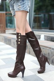 Wholesale heels boots size 32 - Boots PU new Women Large size small yards 33 40 41 42 43 44 45 46 47 high heel 9.5CM Platform 1CM EUR Size 32-48