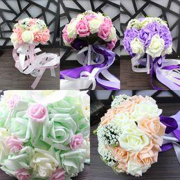Rosas champagne online-2017 Bouquet Cover 5 colores Champagne Pink Purple Light Green Roses Ramos de novia para bodas y San Valentín