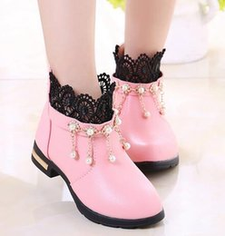 Wholesale Women S Boots Wholesale - 2016 Spring and Autumn new children 's performance shoes Korean girls black shoes Princess shoes pearl rhinestone shoes