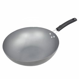 Wholesale Gas Wok - Wholesale-chinese non-stick iron pan wok no coating general use for gas and induction cooker kitchen tools cookware 0 Z-231