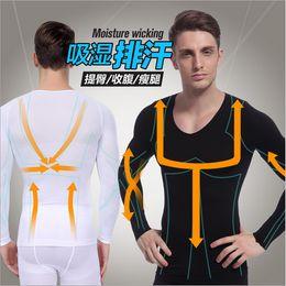 Wholesale Sleeve Shirt Body Shaper - Wholesale-Hot Sales New Men Slimming Shapewear Tummy Waist Control Body Shaper Long Sleeve Shirt