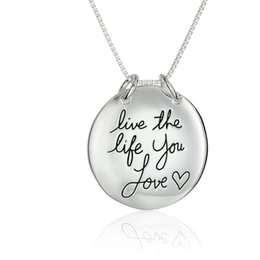Wholesale Silver 24 Inch Chains - 2017 hot 29.6x29.6MM Live The Life You Love Reversible Pendant Necklace N1664 24 inches Chains