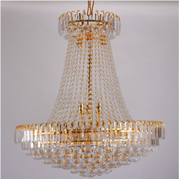 Argentina Envío gratis Royal Empire Golden Crystal chandelier Light Crystal Crystal luces colgantes de techo D500mm X H450mm cheap empire crystal chandeliers Suministro