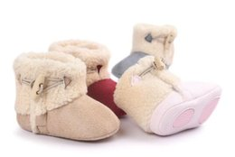 Wholesale girls rubber boots sale - Winter Baby Girls Shoes Half Rubber Sole Kids Toddler Infant Boots Prewalker First Walkers hot sale