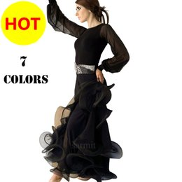 Wholesale Tango Dresses Competition - 7 Colors 2pcs Set Long Sleeve Women Dresses for Ballroom Dancing Tango Waltz Ballroom Dance Competition Dresses CADB019