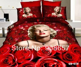 Wholesale Sexy Marilyn Monroe Comforter - sexy red rose flower Marilyn Monroe 3D printed Bedding cotton comforter girls bedspread queen quilt duvet covers set bedclothes