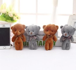 Wholesale Teddy Bouquet Wholesale - 10CM Plush Stuffed Bear Toy Doll 2Colors - Joint Bear Wedding Bouquet GIFT TOY DOLL ; Keychain Pendant Plush Toy Doll