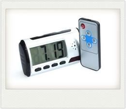 Grabadora de video pc online-Cámara Reloj HD Reloj despertador digital Detector de movimiento Grabadora de sonido Vídeo digital PC con control remoto Para su seguridad
