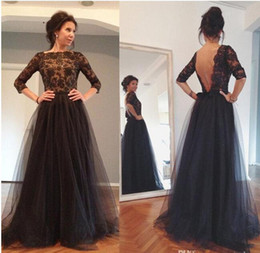 Wholesale Quarter Photo - Charming Black Tulle A-Line Mother Of The Bride Dresses 2017 Three Quarter Sleeves Appliques Beaded Sexy Open Back Evening Dress