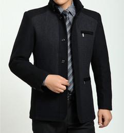 Wholesale Gray Wool Jacket High Collar - 2015 Winter High Quality Men's Woolen Coats Business Casual Overcoat Fashion Wool coat men Windbreaker jacket Peacoat for man