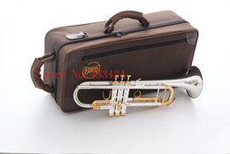 Wholesale B Flat Trumpet - Taiwan Bach Original Silver-plated body gold key LT180S-72 B flat professional trumpet bell Top musical instruments Brass horn