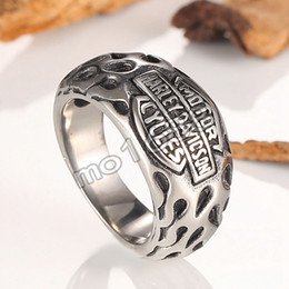 Wholesale Bicycle Rings - wholesale Men Biker Bicycle Chain Punk Ring For Man Harley Titanium Steel New Designed Men's Motorcycle Ring Fashion Jewelry