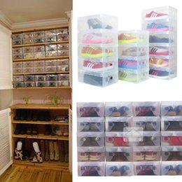 Wholesale Clear Plastic Shoe Box Wholesale - 10pcs in 1 High Quality Clear Foldable Plastic Shoe Storage Case Boxes Stackable Organizer Shoe Holder Hot
