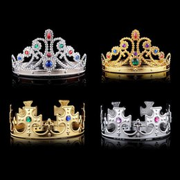 Wholesale Crown Acrylic - Queen and King Crown Hairband With Acrylic Stone Golden and Silver Color Plastic Adustable Size For Adult and Children