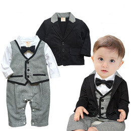 Wholesale Baby Romper Suit Tie - 2016 baby clothes Boy romper Outfits onesides Gentlemen Bow Tie Long Sleeve plaid Jumpsuits +Black Suit 2pcs set 0-2years
