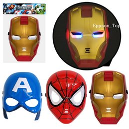 Wholesale Armor Mask - 2017 LED Glowing Light Halloween Masks Captain American Spider-man Iron Man Super Hero Armor Warrior Small yellow people Mask Gift