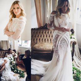 Wholesale plus size couture wedding dresses - Pallas Couture Mermaid 2016 Wedding Dresses Long Sleeve Lace Applique Trumpet Bridal Gowns Sweep Train Plus Size Vintage Wedding Dress