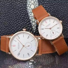 Wholesale Dressing Watches - 2016 New Brand NOMOS Quartz Watch lovers Watches Women Men Dress Watches Leather Dress Wristwatches Fashion Casual Watches