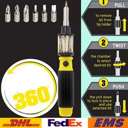 Wholesale Hex Set - DHL New 6 In 1 Multifunction Screwdrivers 360 Screwdriver Creation Hand Tools Speed Out Notching Hex Torx Slotted Tools WX-S01