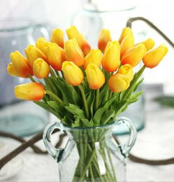 Wholesale Red Yellow Tulips - K15102 Wholesale High-grade Simulation Mini PU Tulip Wedding Home artificial flowers Valentine's Day Christmas Decorative Flower