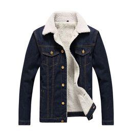 Wholesale Mens Slim Fit Down Coat - Men's Jackets Winter Fur Jeans Jacket Coat Men Slim Fit Warm Fleece Parkas Jacket Men Turn-down Collar Mens Parkas with Fur