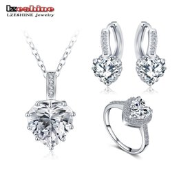 Wholesale Wholesale Bridal Wedding Rings Sets - Wholesale-LZESHINE New Fine 2016 Women Romantic Heart Shape AAA Zircon Wedding Jewelry Earring Necklace Ring Bridal Jewelry Set CST0033
