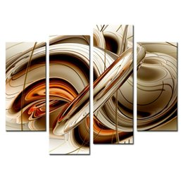 Wholesale Abstract Art Prints Canvas - Amosi Art-4 Pieces Wall art Painting Set Flowing Lines Modern the picture Print On Canvas Abstract Picture for Home Decor(Wooden Framed)