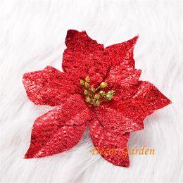 Canada En gros 20 cm 4 Couleurs De Noël Tête De Fleur Artificielle Poinsettia Fleurs De Noël fleur Pour Maison de vacances Décoration De Noël Fournitures Offre