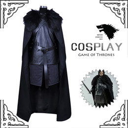 Wholesale Men Hot Costume - Hot Game of Thrones Jon Snow Costume Outfit With Coat Halloween Costume For Men Cosplay Costume