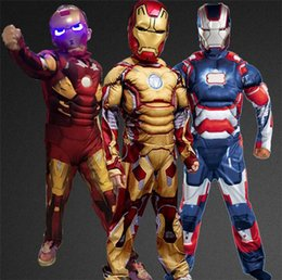 Wholesale Cotton Catsuit Zentai - 2016 new sale COSPLAY animation clothing male child COS costume Iron Man muscle costume Halloween party costume