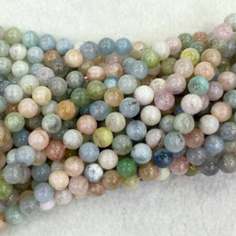 "Wholesale Natural Beryl Aquamarine - Wholesale Natural Genuine Blue Pink Aquamarine Beryl Morganite Round Loose Beads 4-12mm Fit Jewelry Necklace Bracelets 16"" 04076"