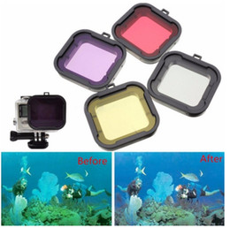 Wholesale Square Filter Case - Top Quality camera hero4 UV Filter hero5 4 3 2 accessories 4PCS Underwater Diving Filter Lens Cover Housing Case