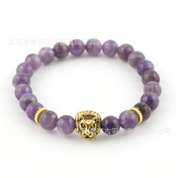 Wholesale Mens Amethyst - 8mm Top Quality Natural Amethyst Stone Beads Real-Gold Plated Lion Head Energy Bracelets Mens Jewelry Mens Gift