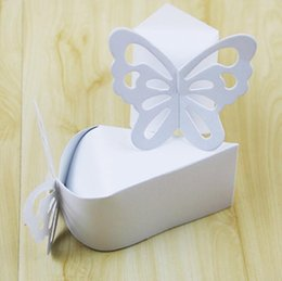 Wholesale Triangle Party Favors - Colorful Butterfly Candy Boxes Baby Shower Christening Birthday Bridal Wedding Favors Creative Boxes 100pcs lot DHL