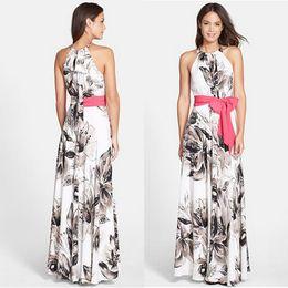 Wholesale flower maxi skirt - Women Dress Summer Bohemian Long Maxi dress Party Skirt Flowers Printed Chiffon Maxi Dresses Womens Chiffon Sleeveless Dress