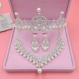 Wholesale Crown Shaped Necklace - Bridal Rhinestone Pearl Alloy Fan-shaped Necklace Earrings Flowers Crown Jewelry Three Pieces Of Bridal Ornaments 2018 Bridal Accessories
