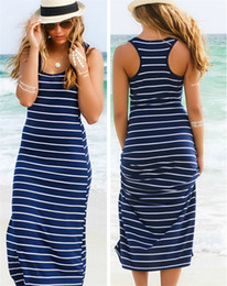 0229c547e Venta caliente Casual Rayas Vestido de Long Beach Summer Spaghetti Strap  manga del cuello de la envoltura Mujeres Baratas Dress In Stock Vestido de  mujeres ...