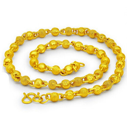 Wholesale 14k Grams - 55 cm long and 64 grams Imitation gold swagger solid round bead men gold-plated necklace Brass jewelry
