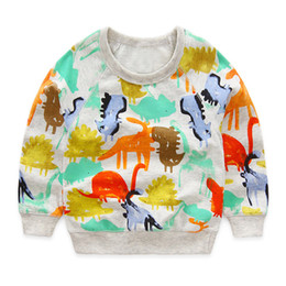 Wholesale Preppy Clothes For Boys - boys t shirts autumn 2016 new cartoon dinosaur long-sleeve kids t-shirt for boy clothes cute animal printed toddler boy girl t shirt