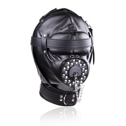 Wholesale Cosplay Sex Toys - Bondage Soft Leather Mask Hood Padded Locking Cosplay Cap Slave Mouth Gag Sex Toys For Couple Sex Products