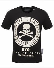 Wholesale Punk Skull Print - Free shipping 2017 autumn new men's fashion circle skull tshirt round neck t-shirt fahsion t-shirt punk style t-shirt size m-3xl