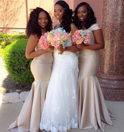 Wholesale Tank Strap Bridesmaid Dresses - Custom Made African Mermaid Bridesmaid Dresses Tank Straps Floor Length Long Maid of Honor Dress Plus Size Wedding Party Gowns