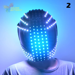 Wholesale Led Scarf - Wholesale-LED Helmets 10 Styles Of 2016 Fashion Luminous Flashing Marquee Glowing Helmet Waterfall Flow LED Robot Helmet Suits Accessories