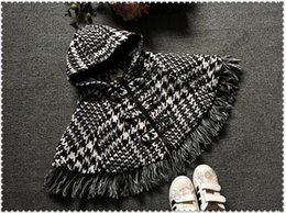 Wholesale Coat Cape Kids - Girls Outfit Thick Baby Girls Poncho Cloak Kids Plaid England Tassel Hooded Cloak Winter Outwear Fashion Black and White Plaid Cape Coat