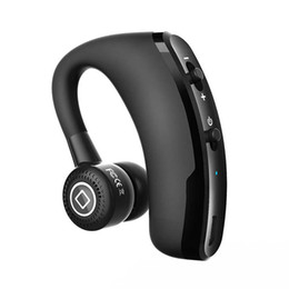 Wholesale Headphone Control Sport - Handsfree Business Bluetooth V9 Headset Earphone Wireless Voice Control Sport Music Bluetooth Headphones Noise Cancelling Earbud Top 2017