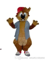 Wholesale Squirrel Mascot Adult Costume - SX0724 Good quality an adult brown squirrel mascot costume with a plaid shirt for adult to wear